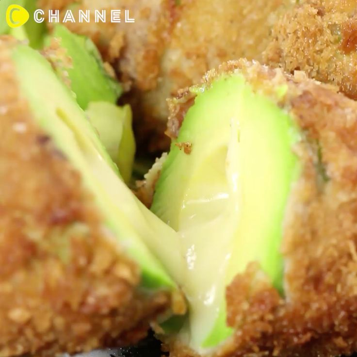 deep fried cheesy avacado roll FULL RECIPE: ■ Ingredient  1 Avocado  5 pieces of bacon  3 slices of provole Cheese   1 egg 1 cup of Bread crumbs