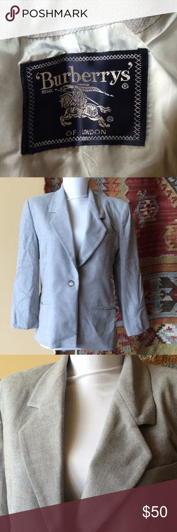 Burberry Vintage light blue blazer Good used condition, just needs a good pressing, some light stains on inside lining as pictured, smoke free home Burberry Jackets & Coats Blazers