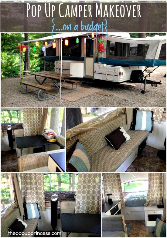 This is an awesome pop up camper makeover! Everything was done on a budget, and the results are amazing. #Amazmerizing
