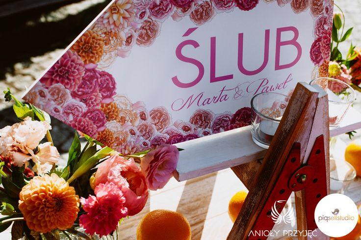 1. Fuchsia Orange Wedding, Wedding sign / Wesele fuksjowo-pomarańczowe, Anioły Przyjęć