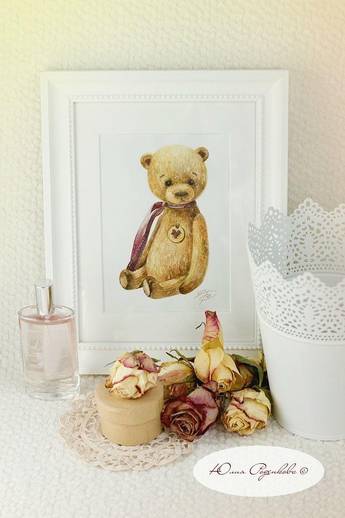 """JulySun: Акварелька """"Мишка с сердечком"""""""