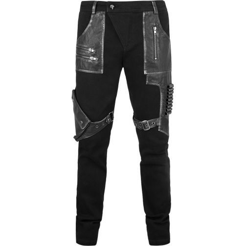 Black denim and leather-look applications with grungy silver details, removable pouch pocket and a dark cowboy vibe, made by Punk Rave.