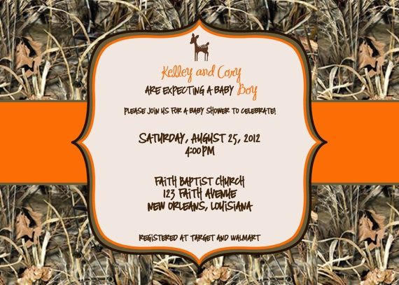 Camouflage Baby Shower Invites | Maxx 4 Camo with Deer Baby Shower Invitation ... | Future Baby Gard…