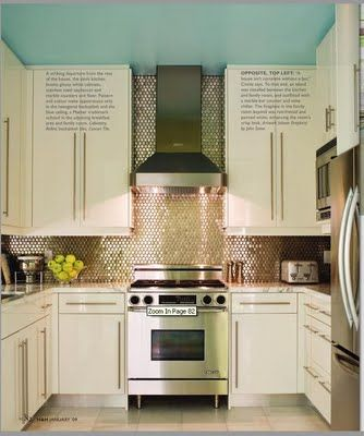 CREED: Why I Love IKEA Kitchens by Katie Berry  -all white  -large shelving spacein small U shape kitchen  -Vent over stove  -with white subway tile