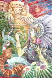 Tonatzin's themes are religious devotion and blessings. Her symbols are soil and light. An ancient mother figure who nurtures people and all that dwells in the land,