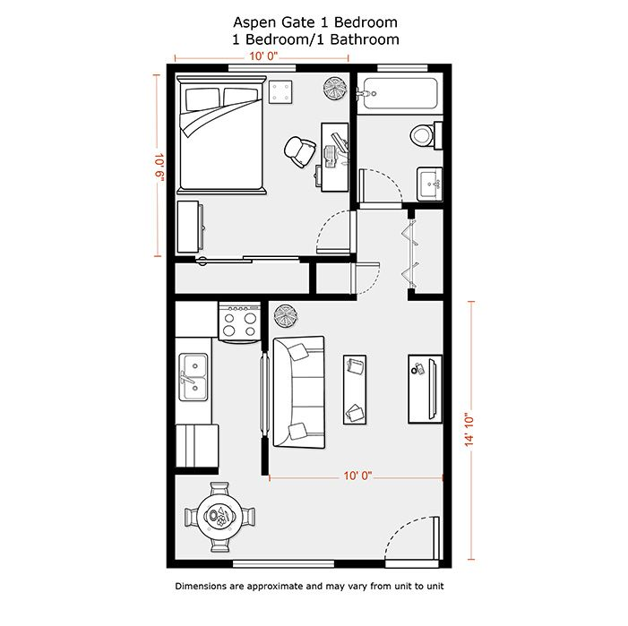 1 bedroom apartment floor plans 500 sf du apartments for One bedroom apartment layout