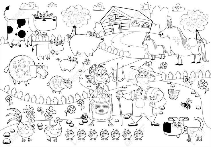 Line Art Quizlet : Familia rural divertida en blanco y negro ilustraciones