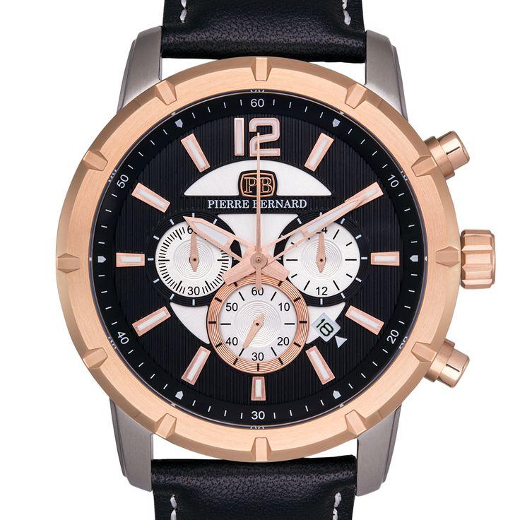Pierre Bernard Men's Steeplechase Chronograph Watch, Multi-Level Textured Dial, Genuine, Superluminova