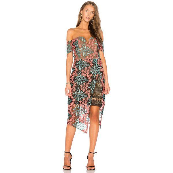 ELLIATT Creation Midi Dress ($175) ❤ liked on Polyvore featuring dresses, cross over dress, surplice dress, back zipper dress, zip back dress and mid calf dresses