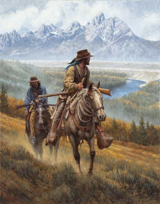 mountain men prints - Bing Images. Location is the Grand Teton Mountains at the bend in the Snake River near Jackson Hole, Wyoming.