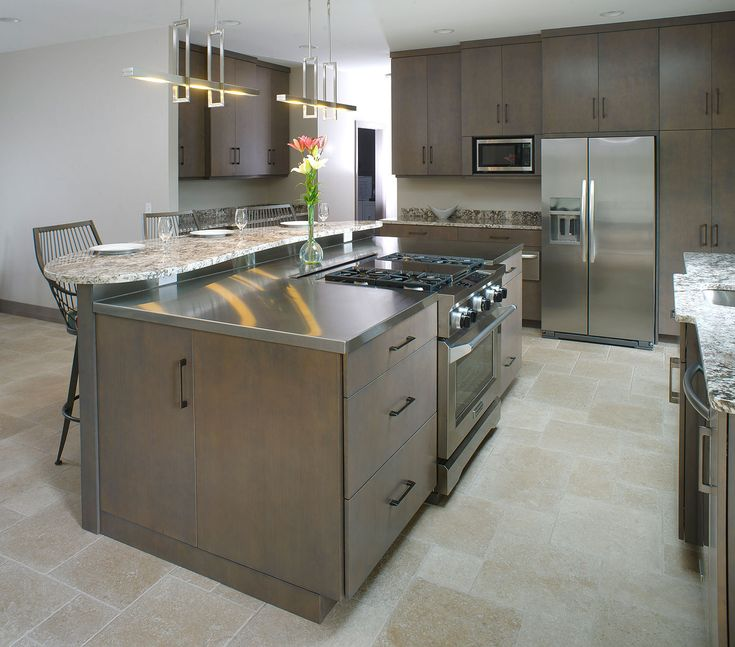 Kitchen Island With Granite Eating Top And Stainless Steel