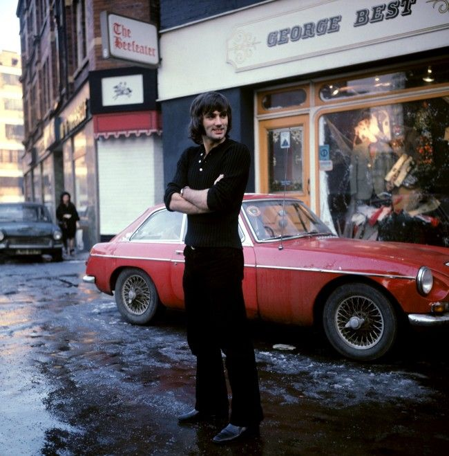 George Best in front of his Manchester boutique January 1970.