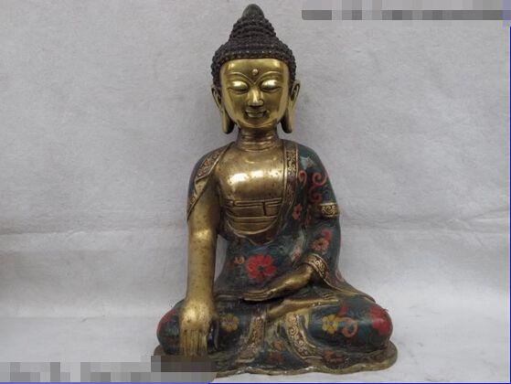 USPS to USA S0085 Tibet Buddhism Folk temple fane Copper Bronze cloisonne Sakyamuni Buddha Statue (B0328) #Affiliate