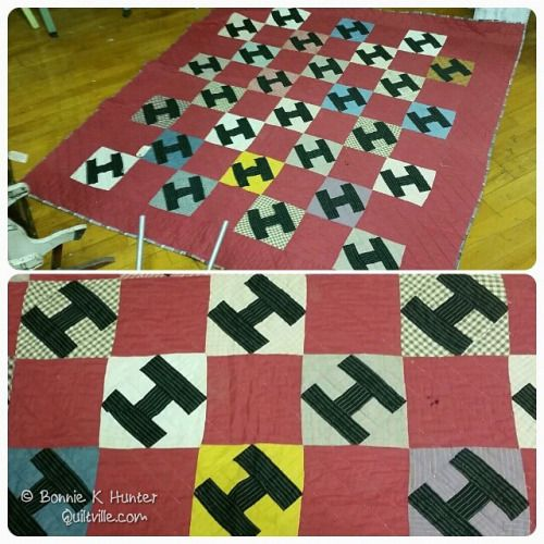 """""""H"""" is for Hunter!  And Happy Birthday to me!  I was going to make an H quilt for the cabin, and no I don't have to! #antiquemallfind #quilt #quilting #patchwork #quiltville #bonniekhunter #vintagequilt #antiquequilt  (at Catawba River Antique Mall)"""