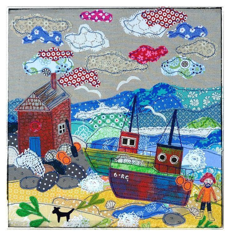 Fishing boats,Appliqué picture by Lucy levenson