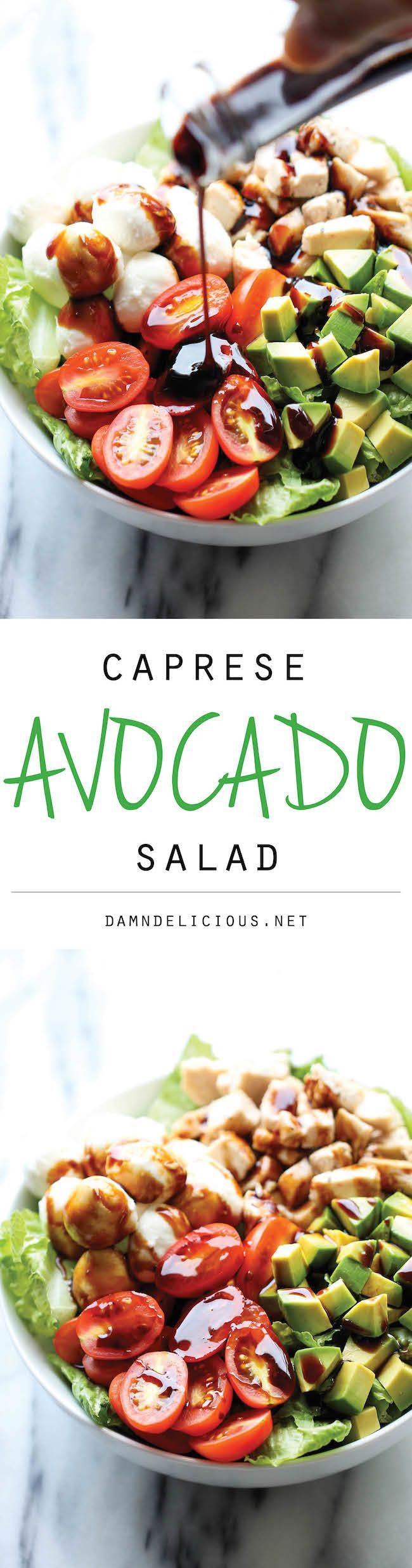 Caprese Avocado Salad @damndelicious *without the chicken*