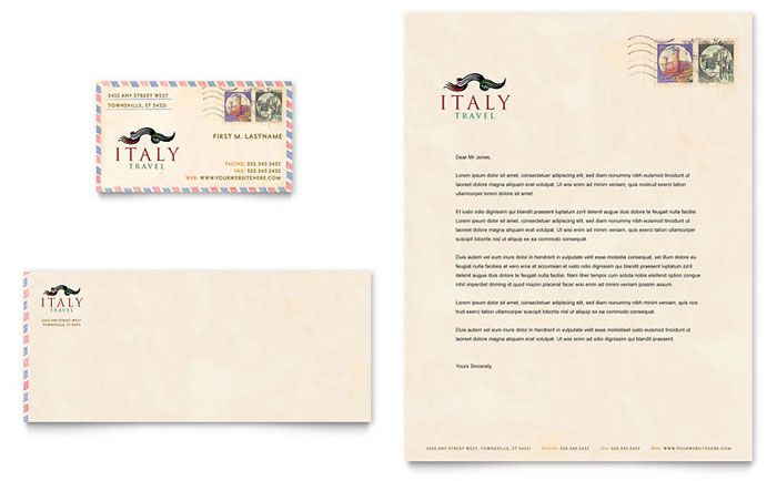 Italy Travel Business Card and Letterhead Template Design by