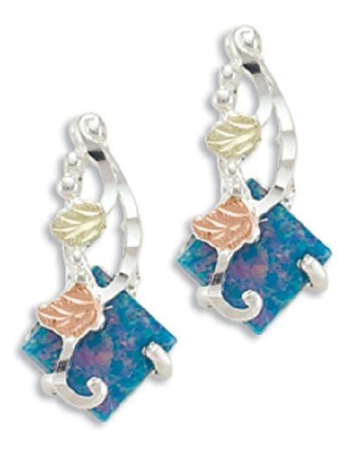 LANDSTROMS BLACK HILLS GOLD AND SILVER Lab created blue mosaic opal EARRINGS #LANDSTROMS