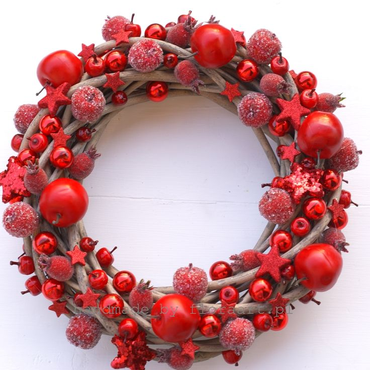 red decoration on grey willow wreath