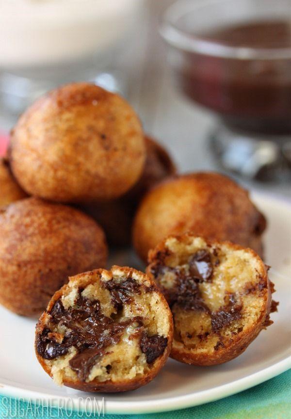 Deep Fried Chocolate Chip Cookie Dough! Warm, crispy, gooey, melty, chocolatey bliss. (Recipe on SugarHero.com)