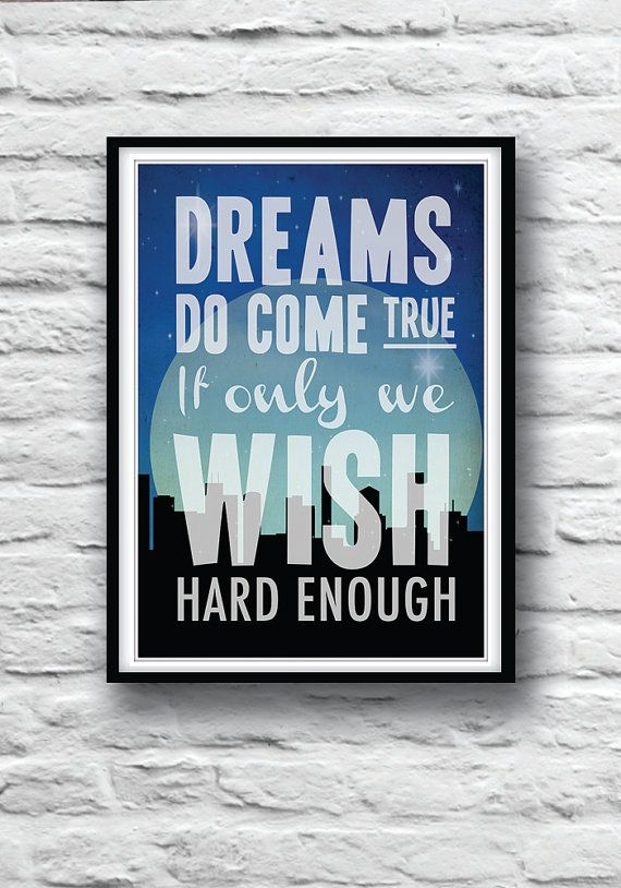 Quote Poster Peter Pan Nursery Art Wall Decor  by Redpostbox, £8.00