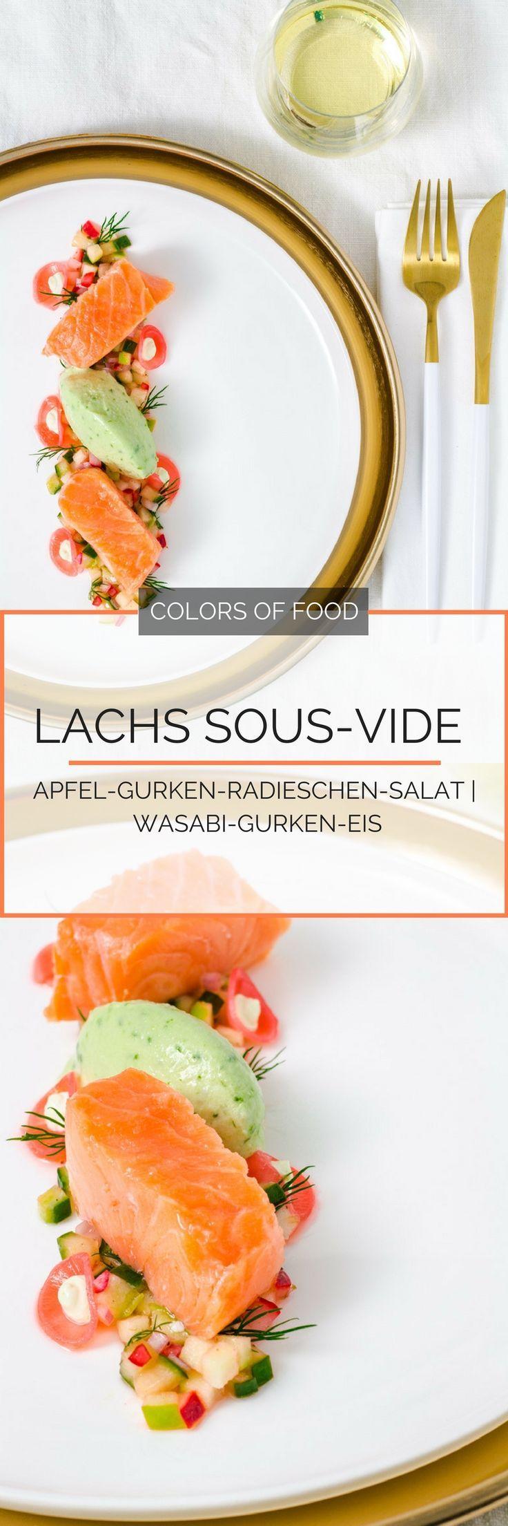 Hier findest du das Rezept für butterweichen Lachs mit knackig-frischem Salat, süß-sauer eingelegten Radieschen und cremiges, scharfem Gurken-Wasabi-Eis.
