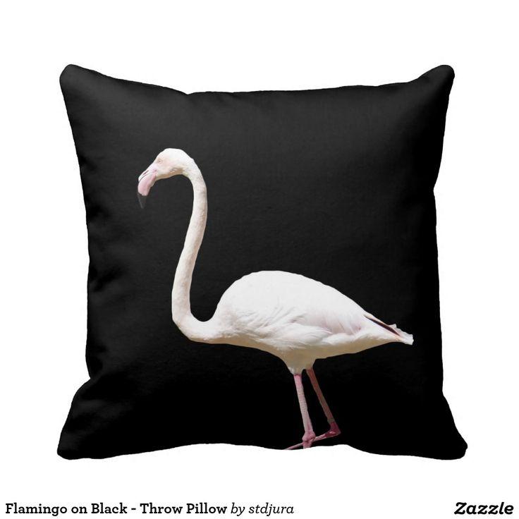Flamingo on Black - Throw Pillow