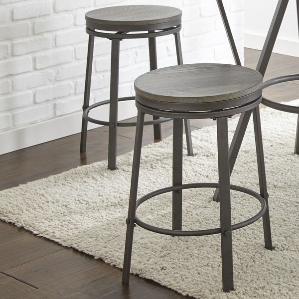 Perry Industrial Style Counter Height Swivel Stool Set Of 2 By Greyson Living Bar Stools Swivel Bar Stools Swivel Stool
