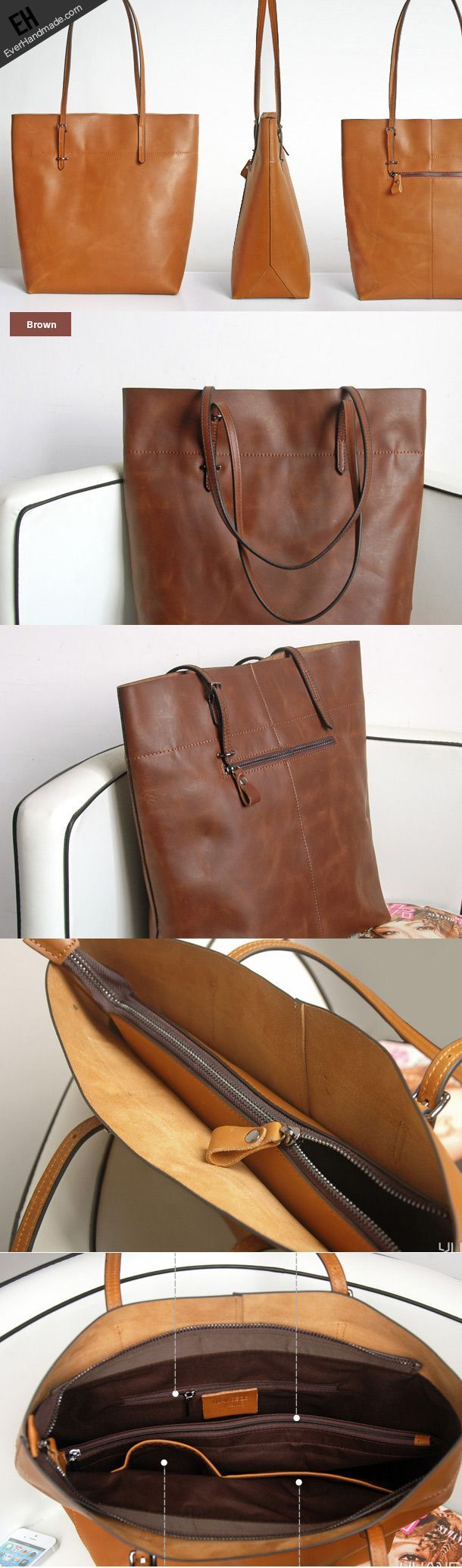 nice Handmade Leather Coffee Brown camel tote bag shopper bag for women leather shoul...
