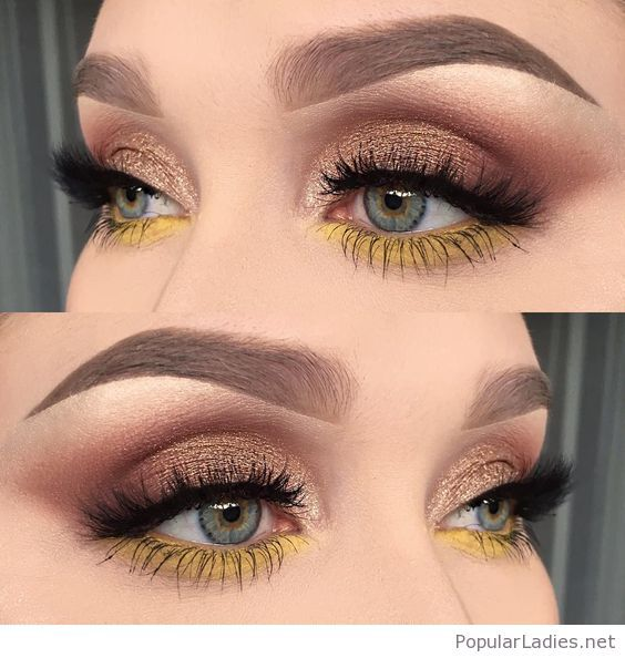 Gold eye makeup with yellow detail