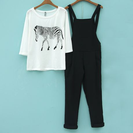 2016 New Fashion Women Casual Dungarees Two-piece zebra all-match seven point sleeve T-shirt and Black Braces c0029