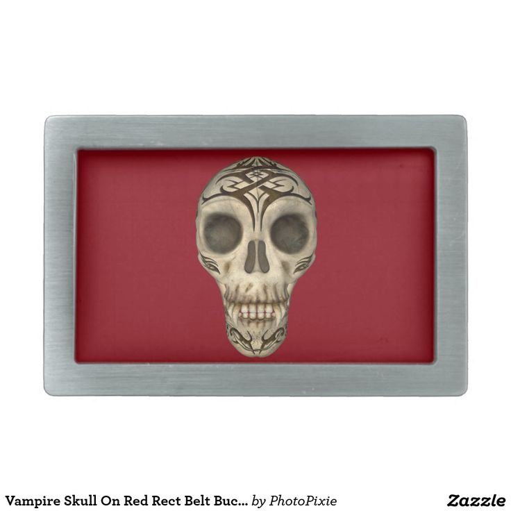 Vampire Skull On Red Rect Belt Buckle