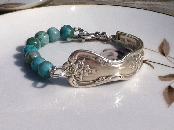 Antique Spoon Bracelet with Turquoise Jasper Quartz Inspiration/Magnolia 1951 by HandMarkedMetals, $35.00