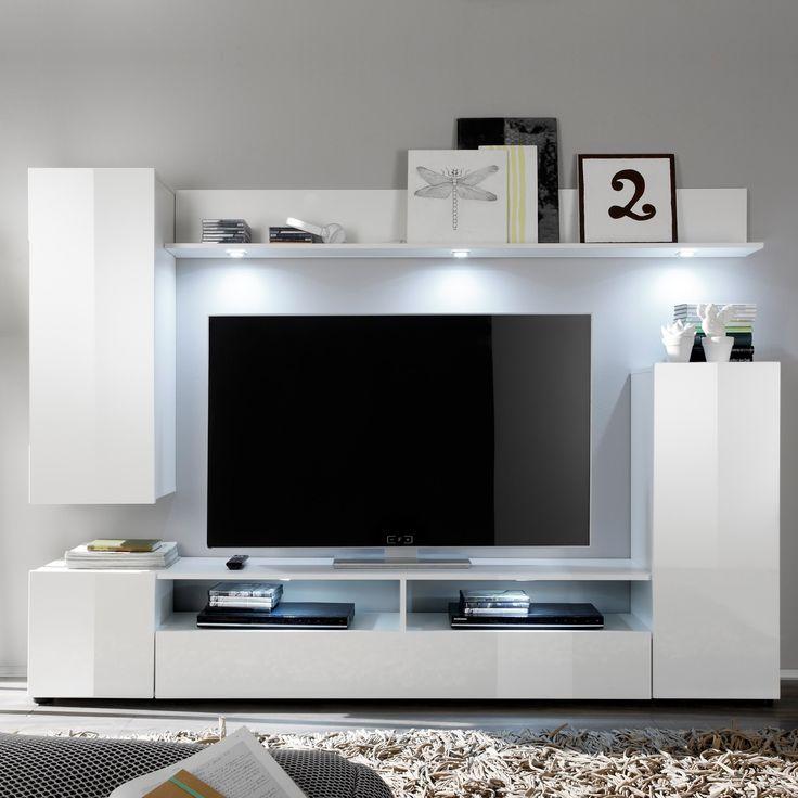 diese stylische wohnwand bestehend aus hngevitrine stauraumschrank lowboard und wandregal bietet idealen stauraum fr - Stylische Wohnwand