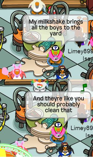 funny club penguin milkshake clean up
