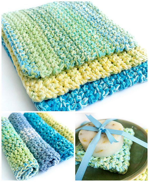 This very simple pattern for thick & durable crochet wash & dishcloths…