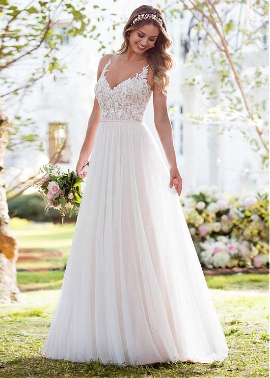 Magbridal Alluring Tulle V-neck Neckline A-line Wedding Dress With Beaded Lace Appliques & Belt