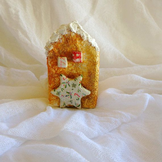 Christmas decoration ceramic ornament Christmas miniature house glitter decoration ceramic decor