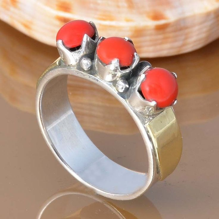 CORAL 925 SOLID STERLING SILVER EXCLUSIVE RING 4.63g DJR7437 #Handmade #Ring