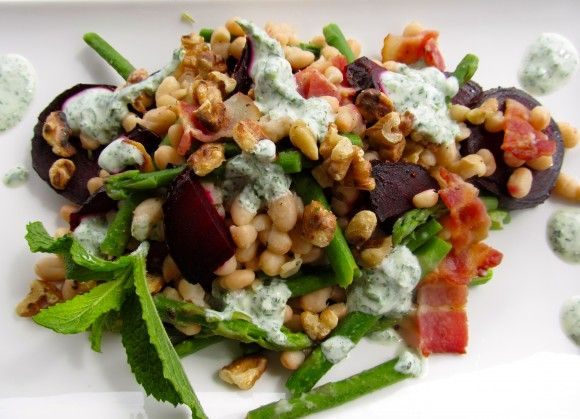 Warm Lemony Navy Beans with Roasted Beets and a Mint Yogurt Sauce