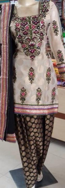 Punjabi suit black white