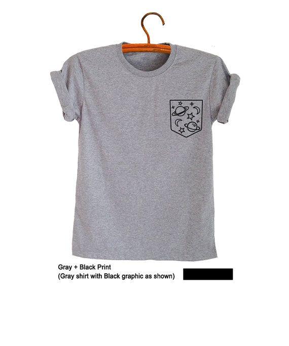 Space TShirt Galaxy Top Pocket Shirt Tumblr T Shirt by FrogTee