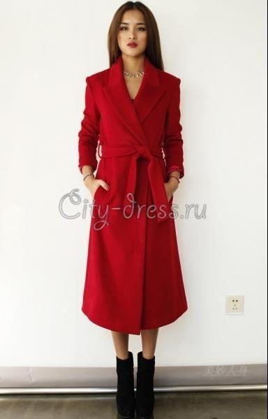 Купить пальто красное женское длинное