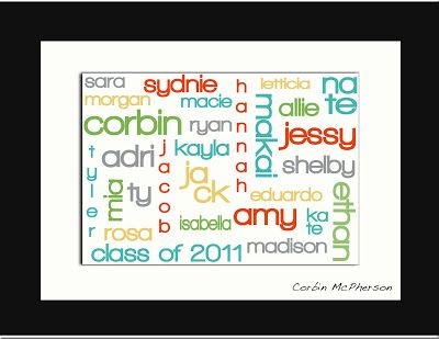 Use Wordle for class list and then frame to display.