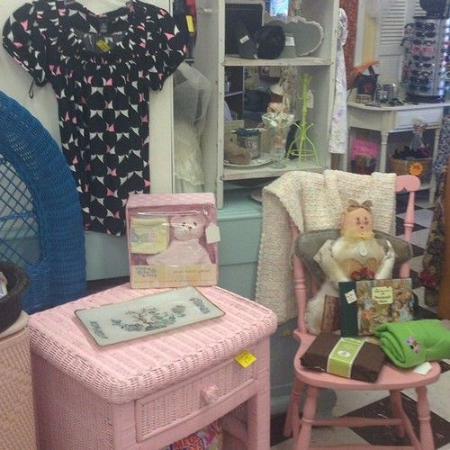 #shopdisplay #pink #wicker #turqoise - @Julie Gold