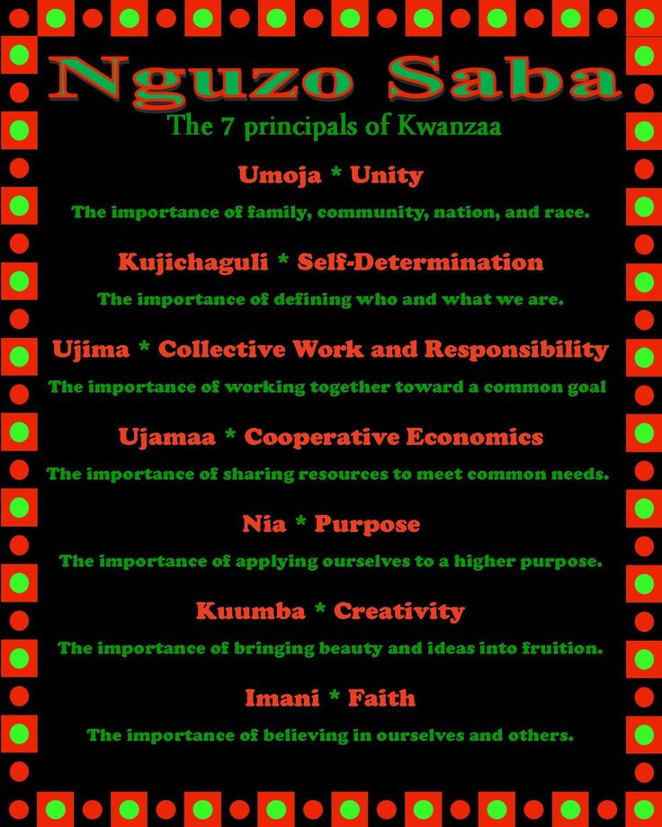 Nguni Saba: the 7 principles of Kwanzaa  Etsy shop  https://www.etsy.com/listing/450198854/nguzo-saba-7-principles-of-kwanzaa