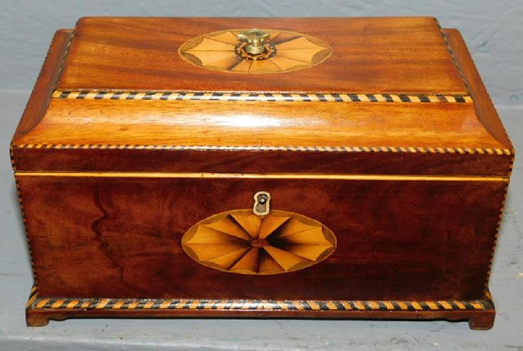 """Early 19th century Chippendale heavily inlaid fitted tea caddy 9"""" wide x 4 1/2"""" deep x 5 1/2"""" tall."""