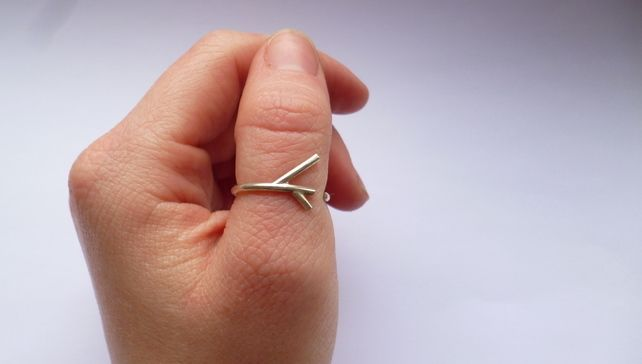 Simple sterling silver branch ring - adjustable £30.00