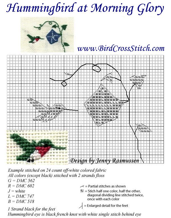 hummingbird and morning glory cross stitch pattern lots of lovely free charts here especially birds