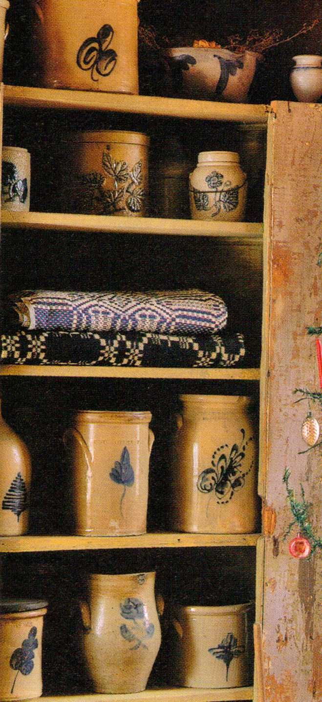 Prim Cupboard...filled with old crocks.